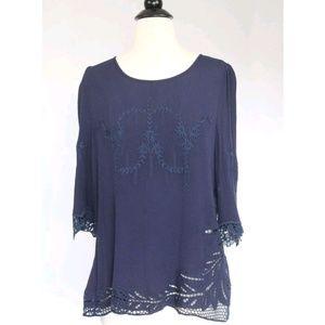 Brixon Ivy Stitch Fix Shirt Top Crochet Embroidery